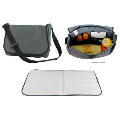 Grey Baby Travel Nappy Maternity Changing Nursery Shoulder Strap Pram Bag + MAT