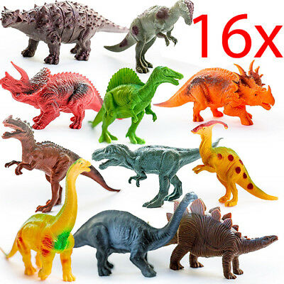 Set Of 16 Dinosaur Figures Action Toy Play Animals Xmas T Rex Jurassic Park New