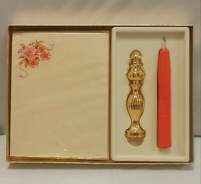 Vintage Avon Fragrance Notes -Stationery, Candle & Metal Seal Stamp - Unused