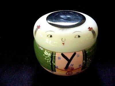 2pc vintage porcelain Y Y Japanese Kimona Doll hand decorated covered bowl 3 1/2