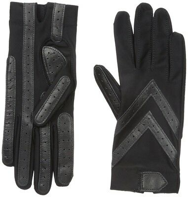 Isotoner Women's Spandex Shortie Gloves with Leather Palm Strips - A56080