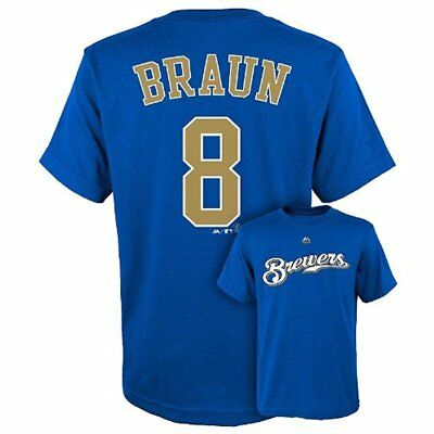 Majestic MLB Youth Milwaukee Brewers Ryan Braun #8 Player Tee T-Shirt