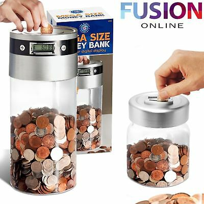 Digital Money Bank Coin Counter Lcd Display Jumbo Jar Sorter Box Counts Coins