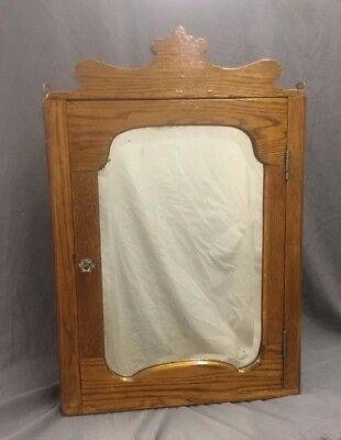 Antique Oak Corner Medicine Chest shaped mirror Cabinet Cupboard Old vtg 270-17J