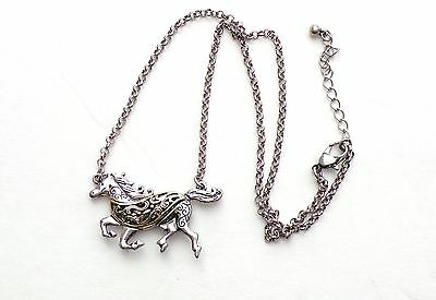 Horse Gallop Color Silver and Silver Gold Swirl Reversible Chain Necklace