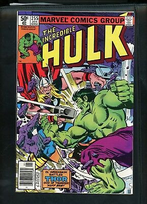 Incredible Hulk 255 From 1980 Hulk vs Thor Fine+ Condition