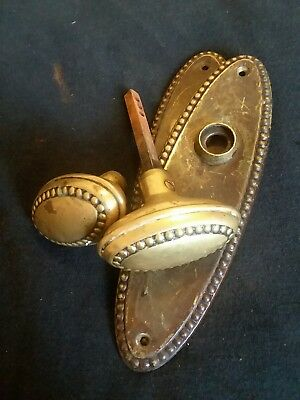 Vintage Solid Brass Oval Beaded Doorknob Set W/skeloton Key Backplates (Detroit)