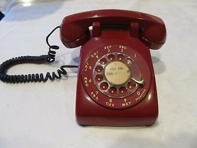 Red Rotary Dial Desk Phone Western Electric Bell System