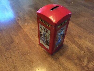Vintage Antique Piggy Bank Telephone Booth Bentley's of London Tin