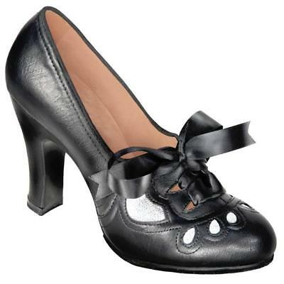 Aris Allen Women's 1930s Black and Silver Lace-up Heeled Oxford Shoes - Size 7.5