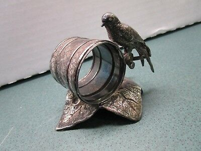 Old Antique Meriden Silverplate Figural Table Napkin Ring Eagle Bird on Leaf NR