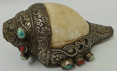 Nature : Ornate Shell Decorated With Coloured Stones (Ccb)