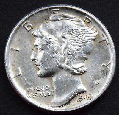 1943 W  UNITED STATES OF AMERICA 10 Cent  Mercury Dime USA  HIGH GRADE COIN