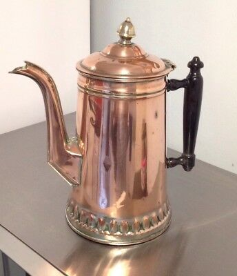 Antique Copper Coffee Pot With Wooden Handle 3 Or 4 Pint Capacity