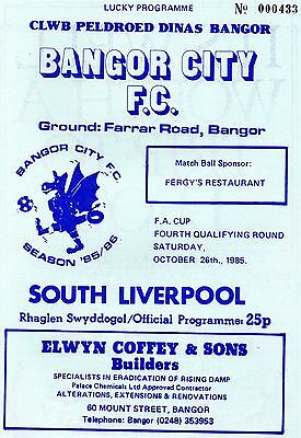 Oct 85 BANGOR CITY v SOUTH LIVERPOOL FA Cup qualifying round