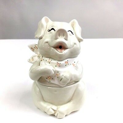 Vintage Fitz & Floyd Happy Pig Hand Painted 2 Piece Candy Dish Figurine 1983