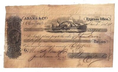 Adams & Co Express Banking Office 1854 Gold Rush Era $50 Check Boston Rare Early