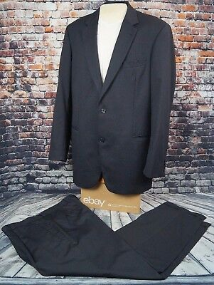 Hugo Boss Galilei Mens Suit Super 100 Wool Navy Pinstripe 44 L 44L 40 W x 32 L