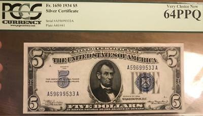 1934 $5 Blue Seal Silver Certificate A-A Block PCGS Choice Uncirculated CU 64PPQ