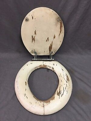 Antique wood Toilet Seat Cover With Lid nickel Brass Hardware 15x16 vtg 277-17J