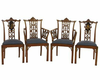 Set of English Antique Chinese Chippendale Chairs 19th Century