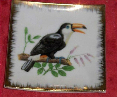 Vintage Ceramic Japanese Plate Miniature Bird Dish World Creations Crimco Toucan