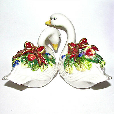 Fitz & Floyd Essentials ~ Ceramic Salt & Pepper Shakers ~ Swans ~ Holiday Decor