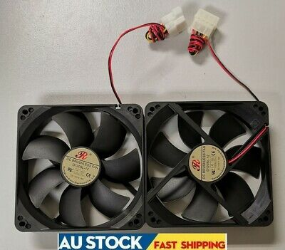 2 x New 12cm 120mm DC Brushless PC Computer Case Cooling Fan 12V Cool Air