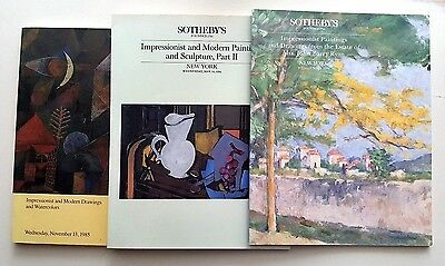 Sotheby's lot of 3 catalogs Impressionists Modern Drawings & Watercolors 80s & 9