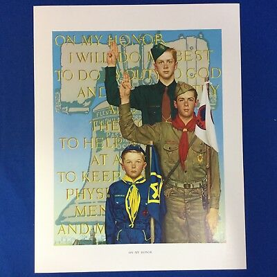 "Norman Rockwell Boy Scout Print 11""x14"" On My Honor"