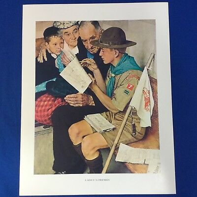 "Norman Rockwell Boy Scout Print 11""x14"" A Scout Is Friendly"