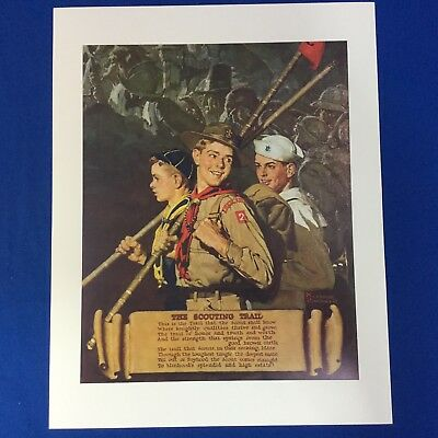 "Norman Rockwell Boy Scout Print 11""x14"" The Scouting Trail"