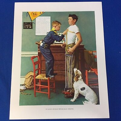 "Norman Rockwell Boy Scout Print 11""x14"" To Keep Myself Physically Strong"