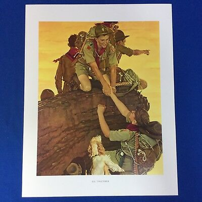 "Norman Rockwell Boy Scout Print 11""x14"" All Together"