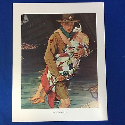 "Norman Rockwell Boy Scout Print 11""x14"" A Scout Is Helpful"