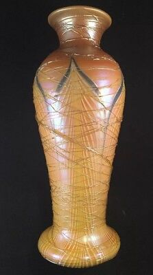 Fine Large Threaded Durand Pulled Feather Art Glass Vase