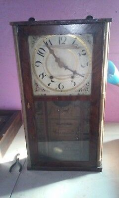 silas hoadley wooden works. Weighted clock. 1830s 1840s