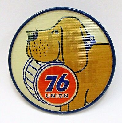 UNION 76 I LIKE BURNIE Gasoline lenticular lens Hydroplane flash pinback button