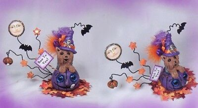 YORKIEWITCH Halloween Yorkshire Terrier Dog Puppy OOAK Clay Handmade BY PASSION