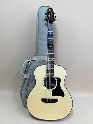 Caraya Premium Arch-Back Spruce Top Parlor Travel Guitar + HD Canvas Bag Strings