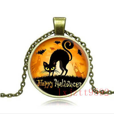 Vintage Halloween Old Fashioned Antique Style Glass Photo Necklaces & Pendants