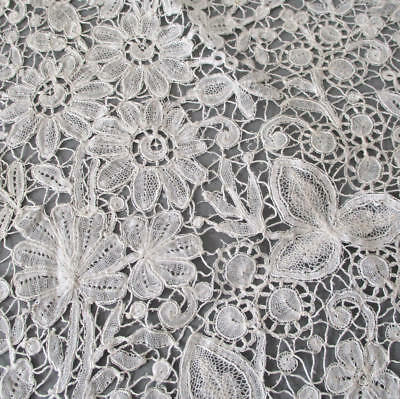 """Antique Handmade French LACE Brussels Bobbin Lace FLOWERS 18"""" Salvaged * DOLLS"""