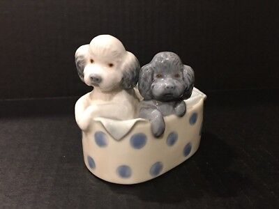"""Llardo NAO """"Retired"""" Dated 1988 Two Poodles in a Basket Puppy Dogs Figurine"""