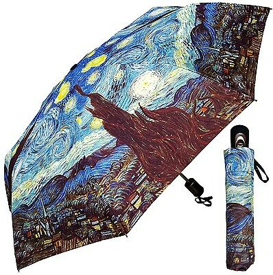 "Umbrella - Fine Art Design - ""Starry Night"" by Van Gogh - 42"" - Matching Case"