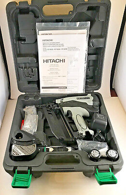 "Hitachi NT65GB 16-Gauge 2-1/2"" Gas Powered Angle Finish Nailer w/ Driver Drill"