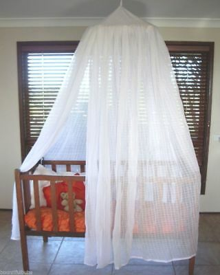 Baby Cot Mosquito Net 100% Cotton Muslin with hoop- White or Natural Colour