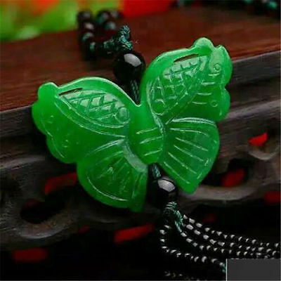Fine Chinese Natural Green Jade Butterfly Pendant Necklace Fashion Charm Jewelry