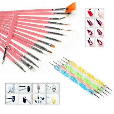 20pcs Nail Art Design Brushes Set Dotting Painting Drawing Polish Pen Tools Kit