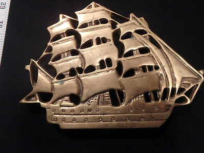 brass ship,hot plate,vintage,old,rare,antique,collector,kitchen,metal,brass,boat