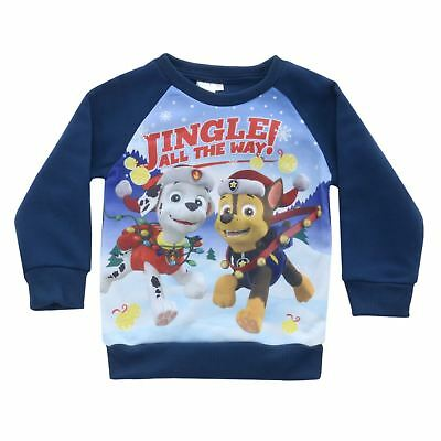 Boys Blue Paw Patrol Kids Christmas Jumper Sweater With Marshall And Chase Print
